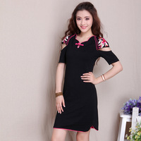 2013 autumn female one-piece dress embroidered slim split skirt petals 100% collar cotton t