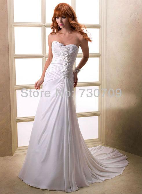 New Fashion Hot Sale Sexy Custom Made White Chiffon Rose Flower Sweetheart Beach Wedding Dress Free Shipping()