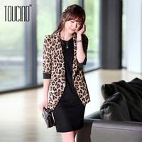 Toucino 2013 autumn women's slim blazer ol female leopard print design short suit outerwear