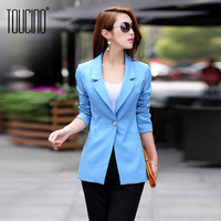 Toucino 2013 autumn women's slim suit jacket candy color medium-long female blazer