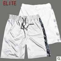 Men MMA Fight Shorts Muay Thai Shorts  Boxing Trunks Martial Arts Wear Bodybuilding Color White/Grey Size L Free Shipping