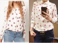 new 2014 red lips printed blouses big size chiffon shirts tops for woman shirt woman white/black