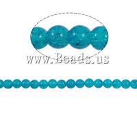 Free shipping!!!Crackle Glass Beads,Supplies For Jewelry, Round, blue, 10mm, Hole:Approx 2mm, Length:31 Inch, 82PCs/Strand