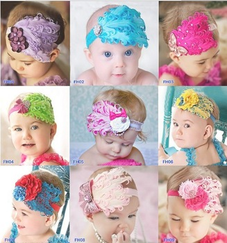 Cute!!! New Fashion Hot Infant Baby Toddler Feather Flower Diamond Bow Headband Soft Headgear Hair Band xht 002