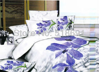 big Rose printed bedding set 3d 100% Cotton Duvet cover King Queen Quilt cover sets Luxury red color bedsheet set wedding