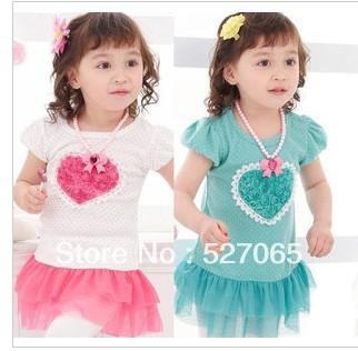 Free shipping 2013 dress Pink and Blue Baby Baby Dress/Girls' Dress/Loving Heart design(China (Mainland))