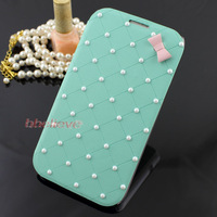 Fresh Green Luxury Cute Bow Pearl Leather Flip Hard Case Cover Skin for Samsung Galaxy Note II 2 Free Shipping