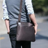 2013 New Arrival Unisex Vintage Style Plaid Messenger Bag High Quality Retro Leather Man Bag Free shipping