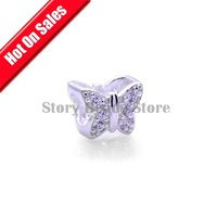 Stamped 925 Silver Butterfly Slide Charm Beads with Clear Rhinestone,DIY Jewelry Compatible With Pandora Style Bracelet XS041