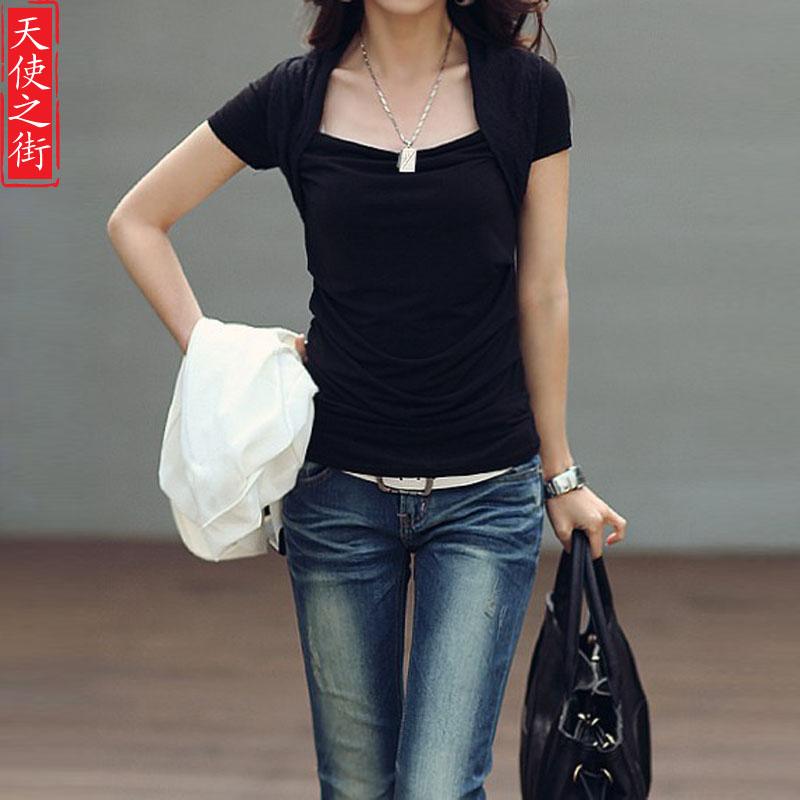 Square Neckline Shirts Slit Neckline Basic Shirt