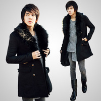 2013 Men's outerwear winter woolen clothes large lapel fur collar top male medium-long trench slim overcoat