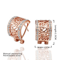 High quality wholesale 18k rose gold Plated earrings,CZ  crystal  antiallergic fashion jewelry earrings,Free Shipping KE500