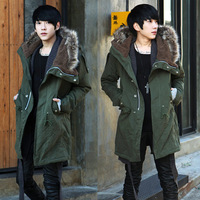 Hot-selling 2013 autumn and winter fur collar male with a hood trench slim olive cotton-padded coat male boys