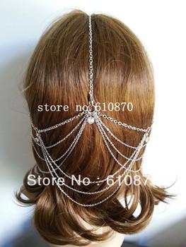 Unique Design Hair Jewelry Women Ladies Chunky Gold Head Band Long layer Elegant Hair Cuff Boho Crystal Head Piece Wedding