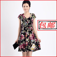 2013 spring and summer mother clothing quinquagenarian women's viscose one-piece dress plus size floral print skirt