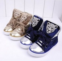 2013 NEW Children shoes child gold velvet leopard head single shoes children animal head shoes children sneakers 523