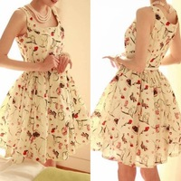 Chiffon one-piece dress 2013 women's high waist suspender skirt tank sleeveless dress princess