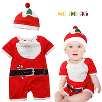2013  baby romper Children's Clothes baby girls Clothing sets boys girls Christmas clothing sets(romper+hat)2pcs, 3sets/lot