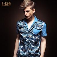 Fashion summer male slim 2013 short-sleeve shirt patchwork flower gown collar shirt male version of 13212
