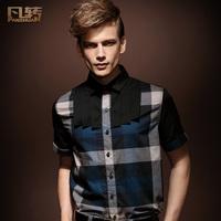 Male short-sleeve plaid shirt slim shirt male vintage royal plaid 13255