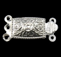 Free shipping!!!Brass Box Clasp,Wholesale Jewelry, Rectangle, silver color plated, 3-strand, nickel, lead & cadmium free