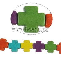 Free shipping!!!Turquoise Beads,Western Jewelry, Synthetic Turquoise, Cross, mixed colors, 15x4mm, Hole:Approx 1.5mm