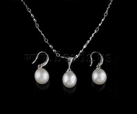 Free shipping!!!Natural Cultured Freshwater Pearl Jewelry Sets,sexy,chinese jewelry, Rice, natural, white, 9-10mm