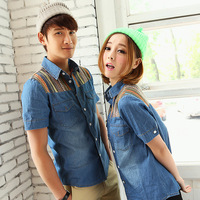 Free shipping Wholesale 2013 summer lovers short-sleeve casual denim shirt patchwork shirt