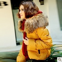 2012 large fur collar thickening female short design down coat lady down jacket hot sale