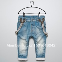 Free shipping Child denim suspenders trousers baby trousers denim blue jeans spring