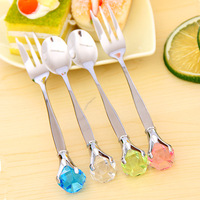Home supplies tableware diamond drop stainless steel tableware spoon stirring rod coffee spoon dessert spoon