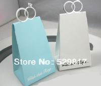 100PC white Triangular Pyramid With Ring Wedding Party Gift Favor Box candy box