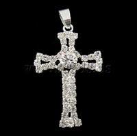 Free shipping!!!Rhinestone Brass Pendants,2013 new men, Cross, silver color plated, with rhinestone, nickel