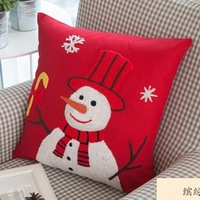 Birthday Gift for girls!2pcs/lot Christmas Topper snowman handmade Woolen embroidery cushion cover 45x45cm/C7069 Free shipping