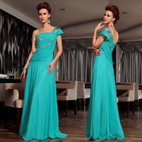 free shipping 2014 new bride maid maxi dresses long blue one shoulder vestidos formales cars banquet wine design evening dresses
