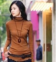2013 autumn and winter turtleneck long-sleeve 100% laciness cotton medium-long t-shirt women's 20