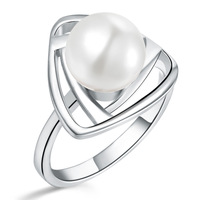 925 Sterling Silver Ring CZ Zircon Fashion Hot Sale Freshwater Natural Pearl Wedding Engagement  Women Finger Ring Free Shipping