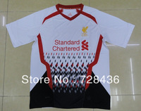New arrival 13/14 Top Thailand Quality Liverpool Away White Soccer Football Jersey Uniforms Shirts , Free Shipping