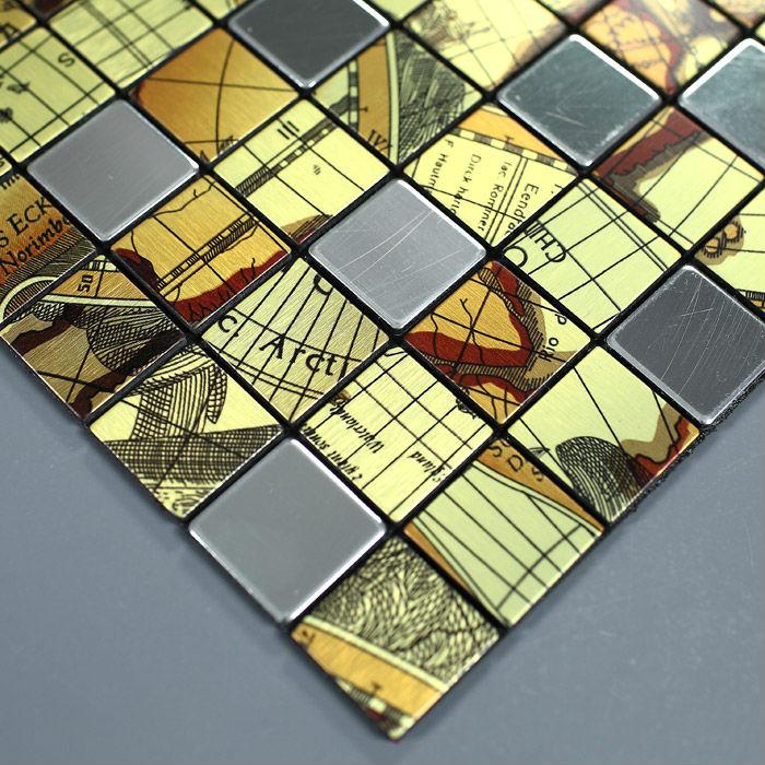 Metal Floor Tiles Metallic Tile Mosaic Stickers
