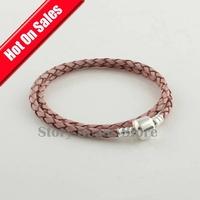 Purple Color Leather Bracelet with Authentic 925 Sterling Silver Clip Clasp, Compatible With Pandora Style Bracelet PL008-L