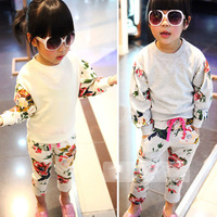 Female long-sleeve child clothing set 2013 autumn clothes girls sports casual baby