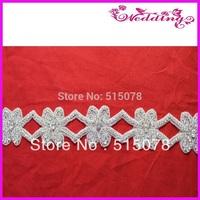 New Arrive Bridal Motif Silver Crystal Rhinestone Applique