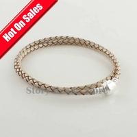 Light Grey Long Starter Bracelet With 925 Sterling Silver Clasp DIY Jewelry,  Compatible With Pandora Style Bracelet PL003-L