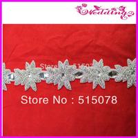 "Free Shipping Silver Beaded Crystal Rhinestone Applique 2.5""W"