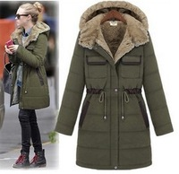 Autumn and winter fashion women's thickening cotton-padded jacket female medium-long wadded jacket outerwear