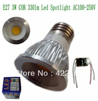 Free shipping E27 COB 3W 330lm Siliver Aluminum shell (COB12)  Led spot light AC100-250V