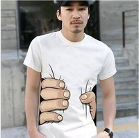 Men's clothing 2013 summer male slim o-neck short-sleeve spring short-sleeve T-shirt 3d 100% cotton male t-shirt