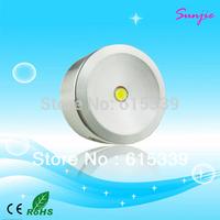 DHL Free Shipping 100pcs/lot Cree Single 1W Round LED Downlight/LED Cabinet Light, DC12-24V Input 1W LED Puck Light DC Connector
