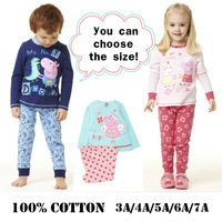 Free shipping 1set retail 3~7age 100% cotton peppa pig baby girls boys sets kids apparel shij062