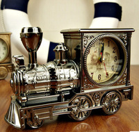 Free Shipping Unique Design Fashion Home Antique locomotive Alarm Clock Train Clock